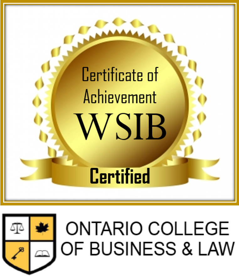 Certificate of Achievement WSIB - Certified